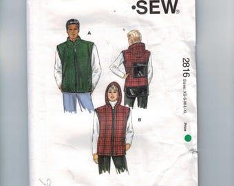 Misses Sewing Pattern Kwik Sew 2816 Misses and Mens Unisex Zipper Front Hooded Vest Size XS S M L XL UNCUT