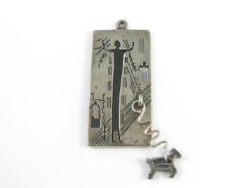 Vintage Sterling Silver Native American Pendant w/ Christian Cross