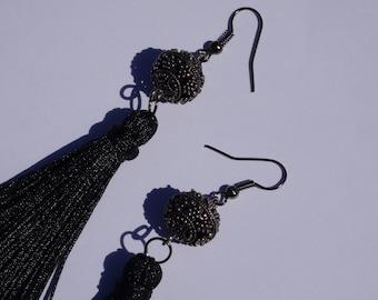 Black filigree tassel earrings