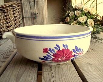 Vintage Serving Bowl - French Ceramic Handled Bowl - Hand Painted Serving Dish - Pink & Blue Flower Decor - Gien Porcelain - Made in France