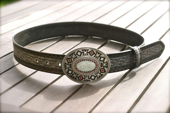 Mixed man woman black country Western navajo Indian embossed leather belt
