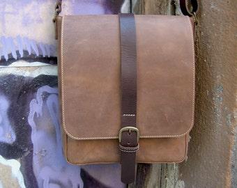 Leather messenger bag Distressed leather bag Crossbody bag Leather shoulder bag