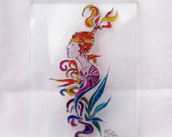 Small glass plate hand painted on glass with woman in liberty style, art Nuveau. Small tempered glass slab. Made in Italy