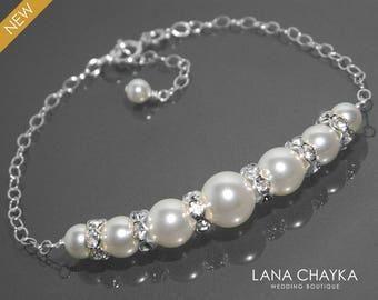 Bridal White Pearl Bracelet Swarovski White Pearl 925 Sterling Silver Bracelet Wedding Pearl Delicate Bracelet Bridal Bridesmaids Jewelry