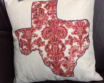 Pillow cover. Texas pillow cover. Throw pillow cover. Texas damask pillow cover. decorative pillow cover. Sofa pillow cover.