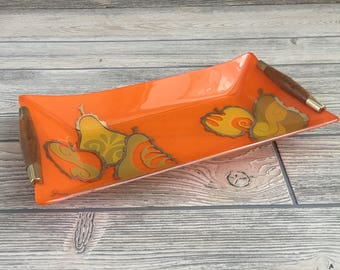 George Briard Orange Glass Tray with Fruit Pattern and Wooden Handles