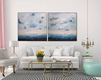 Large Painting Abstract Art/ Original Wall Art White And Blue Painting/ Coastal Living Room Abstract Art/ MADE TO ORDER -  Christovart