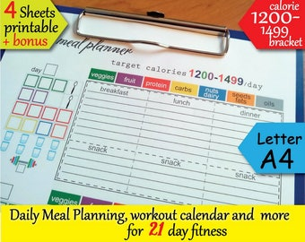 21 day Fitness  1200 Calories Tracker, Food journal, Grocery List, Workout Calendar and more Easy to Use 21 day planner- Instant Download