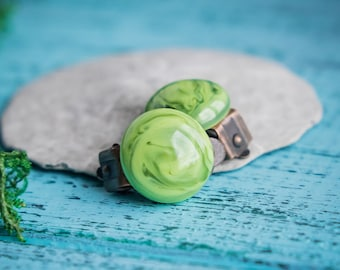 Lime green clips_tiny clip on earrings_artisan lampwork glass_round shoe dress clips_marble pattern_organic earrings_light lettuce green