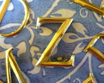 """10 Gold Dresden Letters ~ Z (1 1/2"""" tall)"""
