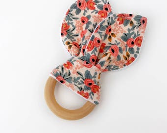 wooden teething ring, organic teething toy, teether, wooden teether, baby teether, teething ring, wood teether, bunny teether, baby teething