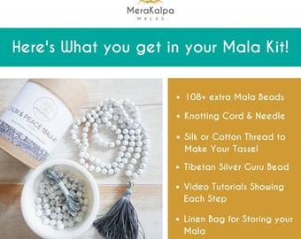 DIY Mala Necklace/Make Your Own Mala/Mala Beads 108/ DIY Mala Beads / Beads Kit/ Tassel Necklaces/ Beaded Necklace