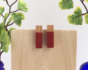 "Red 1"" Wood Post Earrings"