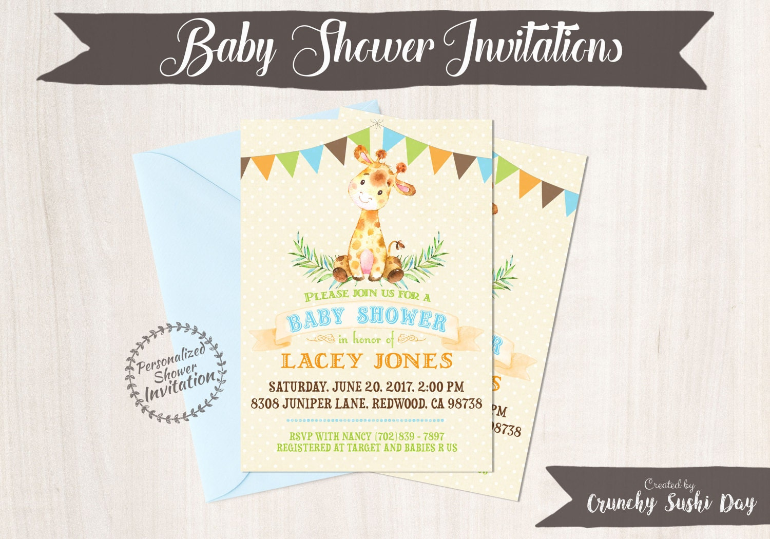 Baby Giraffe, Boy Baby Shower Invitations, Printable Invitations ...