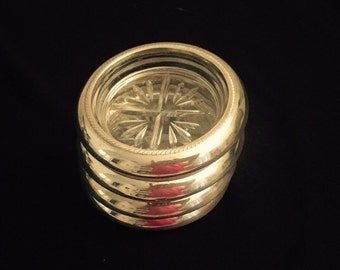 Set of 4 Vintage Glass and Sterling Silver Rims