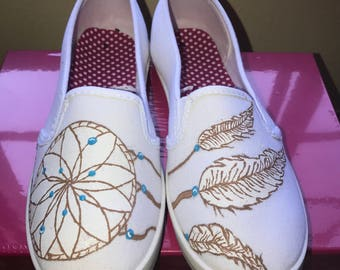 Custom Dream Catcher Hand Painted Shoes (Adult US Size 6)