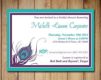 "Peacock Bridal Shower Invitation Template - Wedding Shower Template ""Peacock Feather"" Purple Turquoise Teal Shower 4 x 6 Invitation Download"