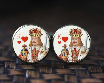 Playing card cufflinks, King of Hearts Men cufflinks, Poker jewelry, Poker cufflinks Cards cufflinks, Gamblers Gifts, Hearts Poker Cufflinks