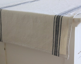 Striped Cotton Table Runner - Natural with Black Stripes - Select Your Length