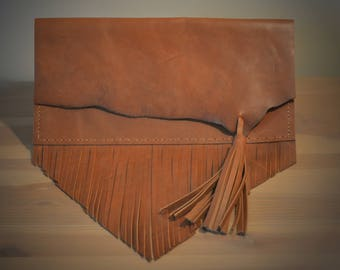 Horween Leather Clutch with Fringe and Tassel - F