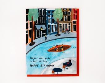 Canal Boating Birthday Card