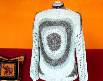 One of a Kind Knit Sweater, Vortex, Light Blue, Breeze, Spring, Spiral, Circular Geometry Pattern, Hand-knitted Pullover, Quality Vintage