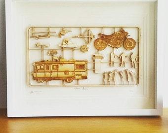 The Walking Dead - Woodcut - fix kit Design - Mounted Art
