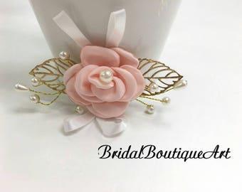 Pink satin flower clip,Pink flower hair clip,Fabric flower hair clip,wedding hair clip,bridal hair clip,bridesmaid,Gold leaf hair clip,girls