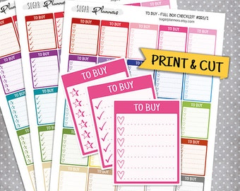 To Buy Full Box Checklist Stickers, Printable Planner Stickers, Erin Condren Planner Stickers, Full Box Stickers, To Buy Printable Stickers