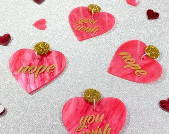 I Love You Not - Pink Valentines Heart Earrings
