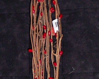 Grapevine twig bundle with small red berries,fall,Christmas,winter crafting,florals,swag