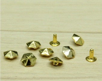 de 10mm 100pcs parapluie forme pyramide rivets pour vêtements artisanat, goujons bricolage chaussures & de sacs, boutons de vêtements