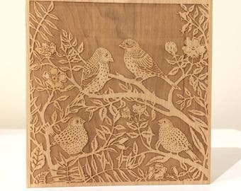 Sparrows in Dog Roses - laser engraved maple block