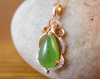 18KT Rose Gold Translucent Light Green Jade Necklace - Pave Diamond Pendant