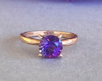 Solid Rose Gold Natural Amethyst Engagement Ring, Hammered Round Amethyst Genuine Stone 14K Rose Gold Solitaire Wedding & Promise Ring