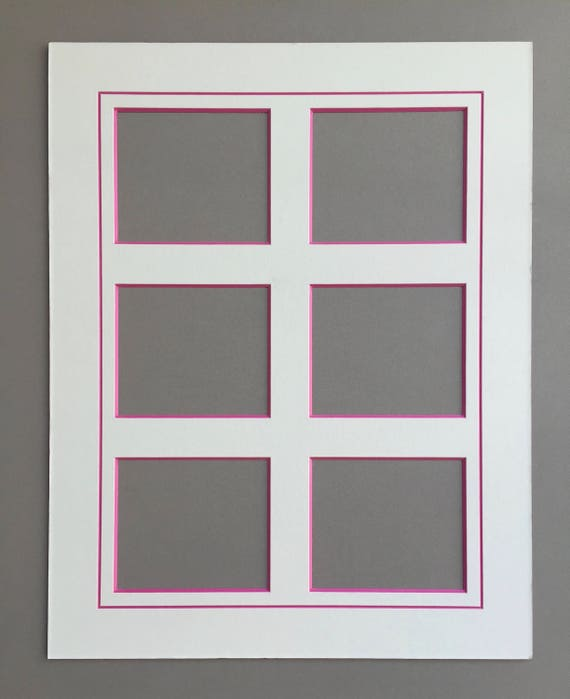 11 x 14 Multi Image Photo Mat - White/Pink