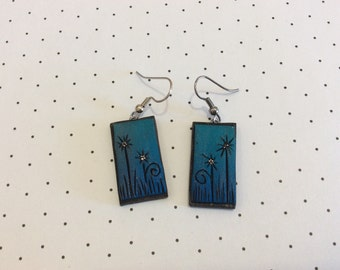 Blue Flower with Microbead Center Handmade Polymer Clay Earrings