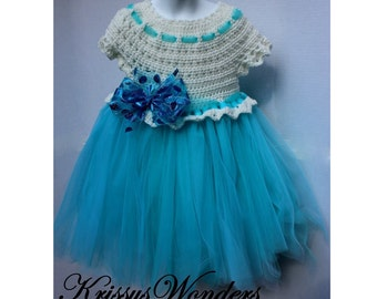 Crochet Dress Pattern - Crochet Tutu Pattern - 5/6  7/8 10/12 14/16 - Girls Dress Pattern - KrissysWonders