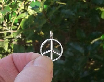 """Sterling Silver Peace Sign Charm - 5/8"""" or 15 mm"""