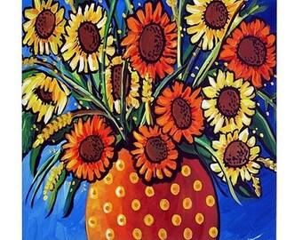 Sunflowers Orange Yellow  Fun Colorful  Whimsical Folk Art Ceramic Tile