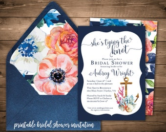Nautical Bridal Shower Invitation- Printable Bridal Shower Invitations- Navy Bridal Shower- Anchor Invites- She's Tying the Knot- Colorful