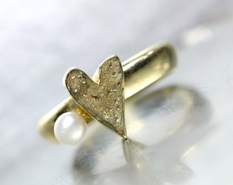 Textured Gold Heart Pearl Engagement Ring 14K Yellow June Birthstone Romantic Love Valentine's Day Modern Unique Design - Heart and Pearl