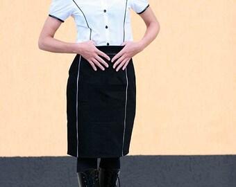 Black skirt, Pin up skirt, black and white skirt, high waist skirt, black skirt, gothic skirt, military skirt, pencil skirt, MASQ