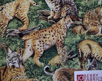 Bobcats from the American Wildlife Collection by Fabri-Quilt.  Quilt or Craft Fabric. Fabric by the Yard.