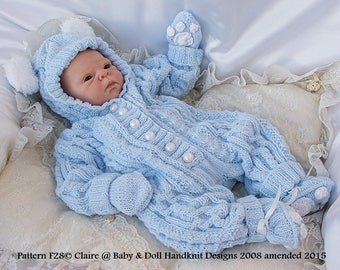 "Knitting Pattern F28 Cabled All-in-one with bunny/teddy ears to fit 16-22"" doll/0-3m+ baby"