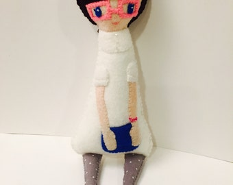Hipster Girl Plushie. Softie. Felt Doll.
