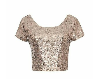 Yours and Mine Spring 2018: Womens Sequins Crop Top Short Sleeve Made in the USA