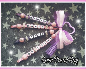 Customizable Keychain four lines with Rhinestones, tassel and heart charm