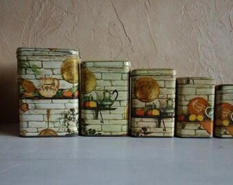 Pretty Set of 5 Tin Boxes , Vintage French, Containers Kitchen Storage, Cottage decor Rustic tin box  circa 1970's