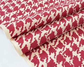 Silky cotton Japanese fabric fluid raspberry red chicken foot x 50cm